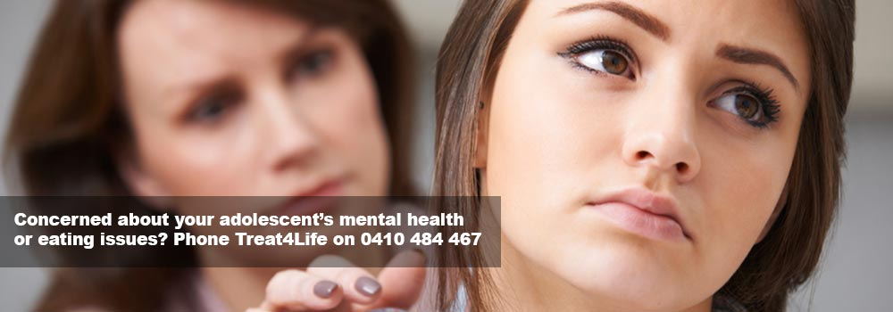 If you're concerned about your adolescent's mental health or eating, phone Treat4Life on 0410 484 467.